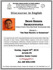 Discourse Swamy RamanaSwaroopananda'18